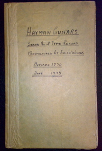 Front cover of the original records ledger book